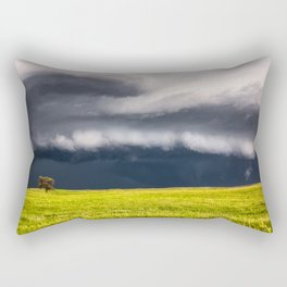 Passing By - Storm and Lone Tree in Nebraska Rectangular Pillow
