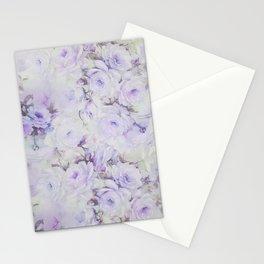 Vintage lavender gray botanical roses floral Stationery Cards