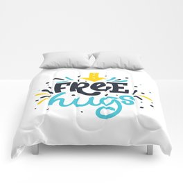 FREE HUGS. Bright lettering. Comforters