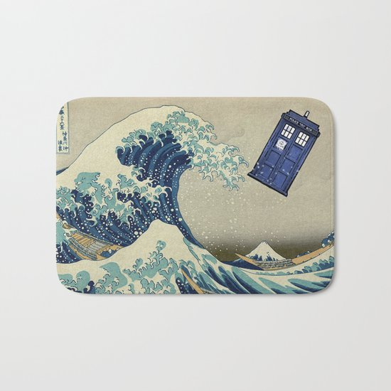 The Great Wave Doctor Who Bath Mat