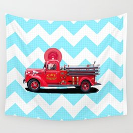 Vintage Fire Truck - Classic Americana Wall Tapestry