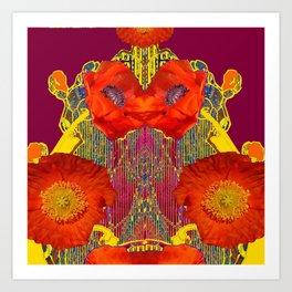 Modern Art Nouveau Orange-Burgundy  Poppy Flowers Art Print