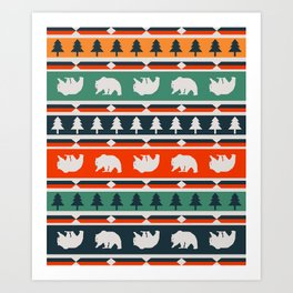 Winter bears and trees Art Print