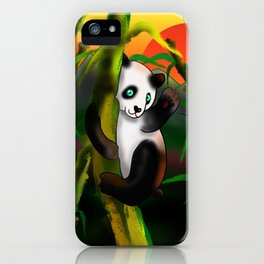 Adorably cute panda at sunset in a bamboo forest iPhone Case
