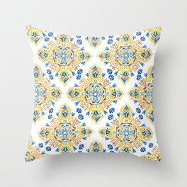 Wheat field with cornflower - mandala pattern Throw Pillow