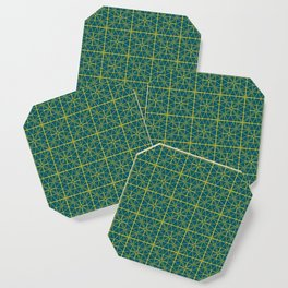 Emerald Green Triangles Pattern Coaster