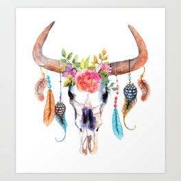 Bohemian watercolour skull - feathers and flowers Art Print