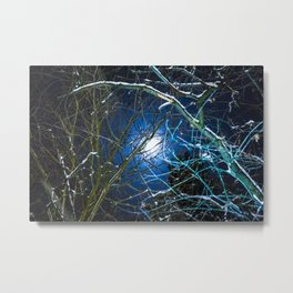 Blue Snow Moon Glow Metal Print