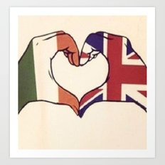 One Direction Inspired UK/Irish Love Heart Art Print