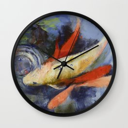 Koi and Water Ripples Wall Clock