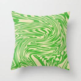 Psychedelic Warped Marble Wavy Checkerboard in Green and Cream Throw Pillow