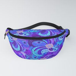 Peacock Neck Gator Retro Blue Peacock Feathers Fanny Pack