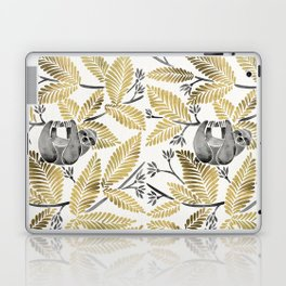 Happy Sloth – Tropical Gold Leaves Laptop & iPad Skin