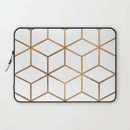 White and Gold - Geometric Cube Design Laptop Sleeve