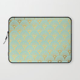 Art Deco Mermaid Scales Pattern on aqua turquoise with Gold foil effect Laptop Sleeve