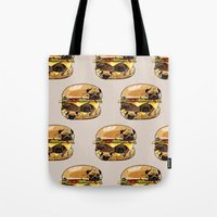huebucket Tote Bags featuring Pugs Burger by Huebucket
