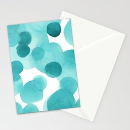 Aqua Bubbles: Abstract turquoise watercolor painting Stationery Cards
