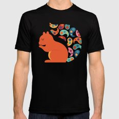 Paisley Squirrel Mens Fitted Tee Black LARGE