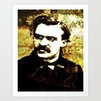 nietzsche Art Prints featuring Nietzsche by Katherine Barnett