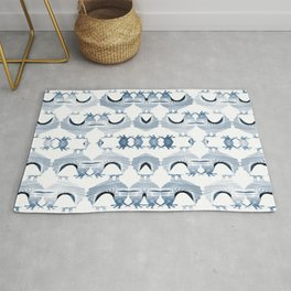 """""""Chickens from Your Barnyard, in Blue"""" by Murray Bolesta Rug"""