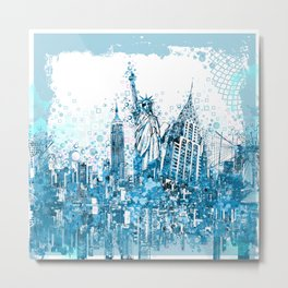 new york skyline blue Metal Print