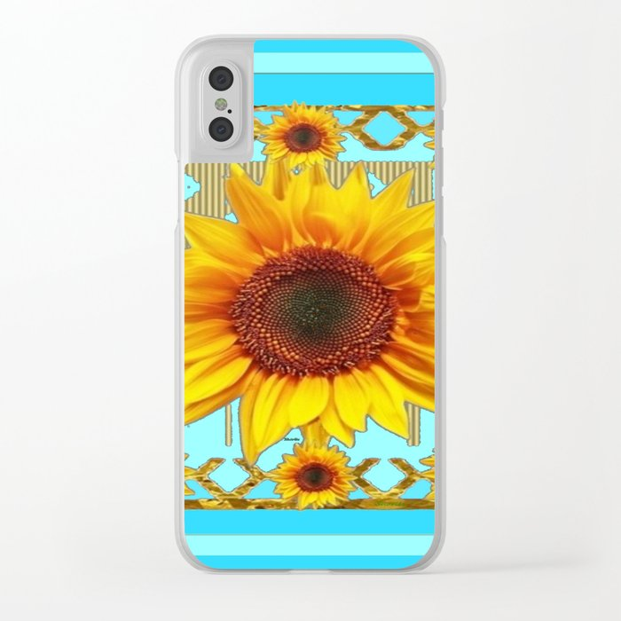 Blue Shades Yellow Sunflowers  Art Clear iPhone Case