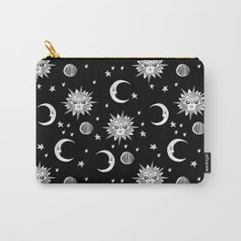 Linocut black and white sun moon and stars outer space zodiac astrology gifts Carry-All Pouch