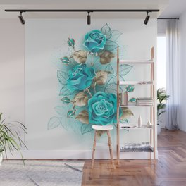 Bouquet of Turquoise Roses Wall Mural