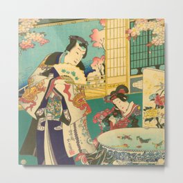 Spring Outing In A Villa Diptych #1 by Toyohara Kunichika Metal Print