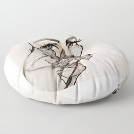 Woman, peonies and rebirth Floor Pillow