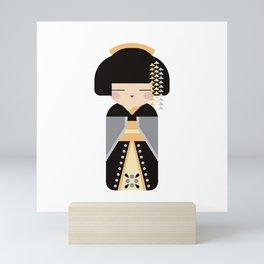 Kawaii Posh Kokeshi #3 - Folk Art Style Japanese Doll Mini Art Print