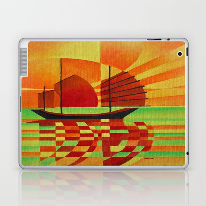 Junk on Sea of Green Cubist Abstract  Laptop & iPad Skin