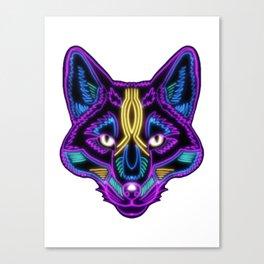 Electric Violet Feline Psychedelic Cat Canvas Print