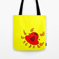 crab Tote Bags featuring Crab by Happy Fish Gallery