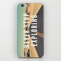 never stop exploring iPhone & iPod Skins featuring Never Stop Exploring by Crafty Lemon