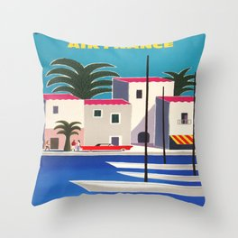 Vintage poster - French Riviera Throw Pillow