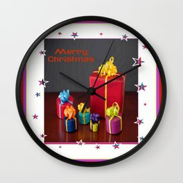 Merry Christmas Gift Boxes Holiday Card  Wall Clock