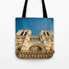 Notre Dame Cathedral on the Seine Facade Tote Bag
