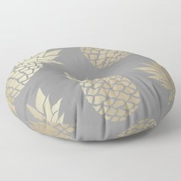 Pineapple Art, Gray and Gold Floor Pillow