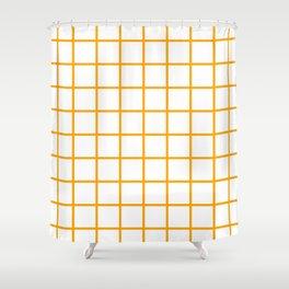 GRID DESIGN (ORANGE-WHITE) Shower Curtain