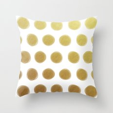 painted polka dots - gold Throw Pillow