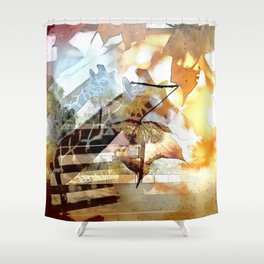 Giraffes in the Shadow of Fall Leaves Shower Curtain