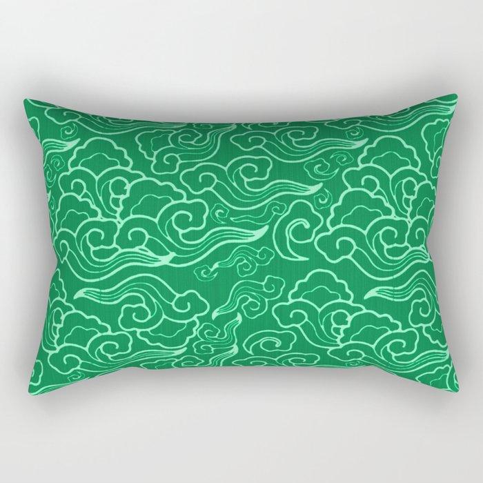 Vintage Japanese Clouds, Jade Green Rectangular Pillow