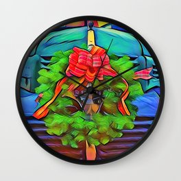 Christmas on the farm Wall Clock