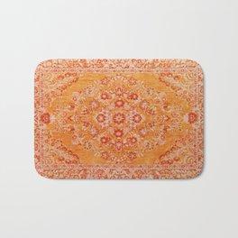 Orange Boho Oriental Vintage Traditional Moroccan Carpet style Design Bath Mat