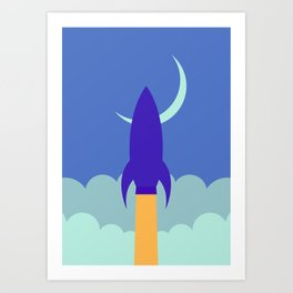 Rocket Blast Off at Night Art Print