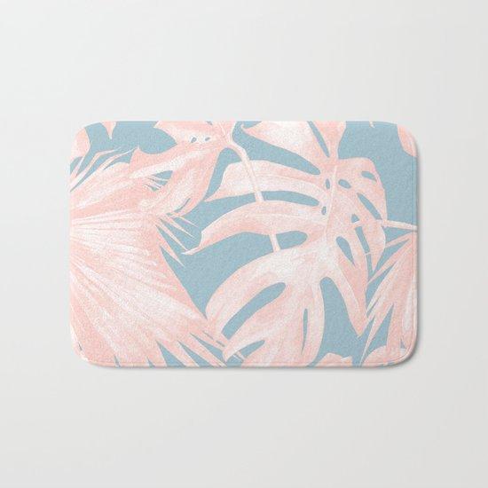 Island Love Millennial Pink on Pale Teal Blue Bath Mat