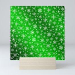 green,white,star, stars, Christmas + Sample, colored, elegant, festive, snowflake, graphic, Mini Art Print