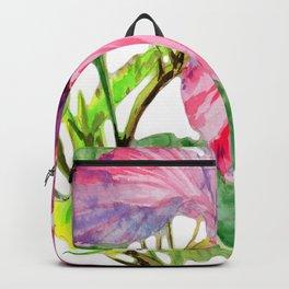 Tropical Pink Hibiscus Watercolor Backpack