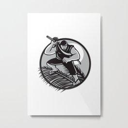Samoan Ninja on top of Coconut Front Circle Metal Print